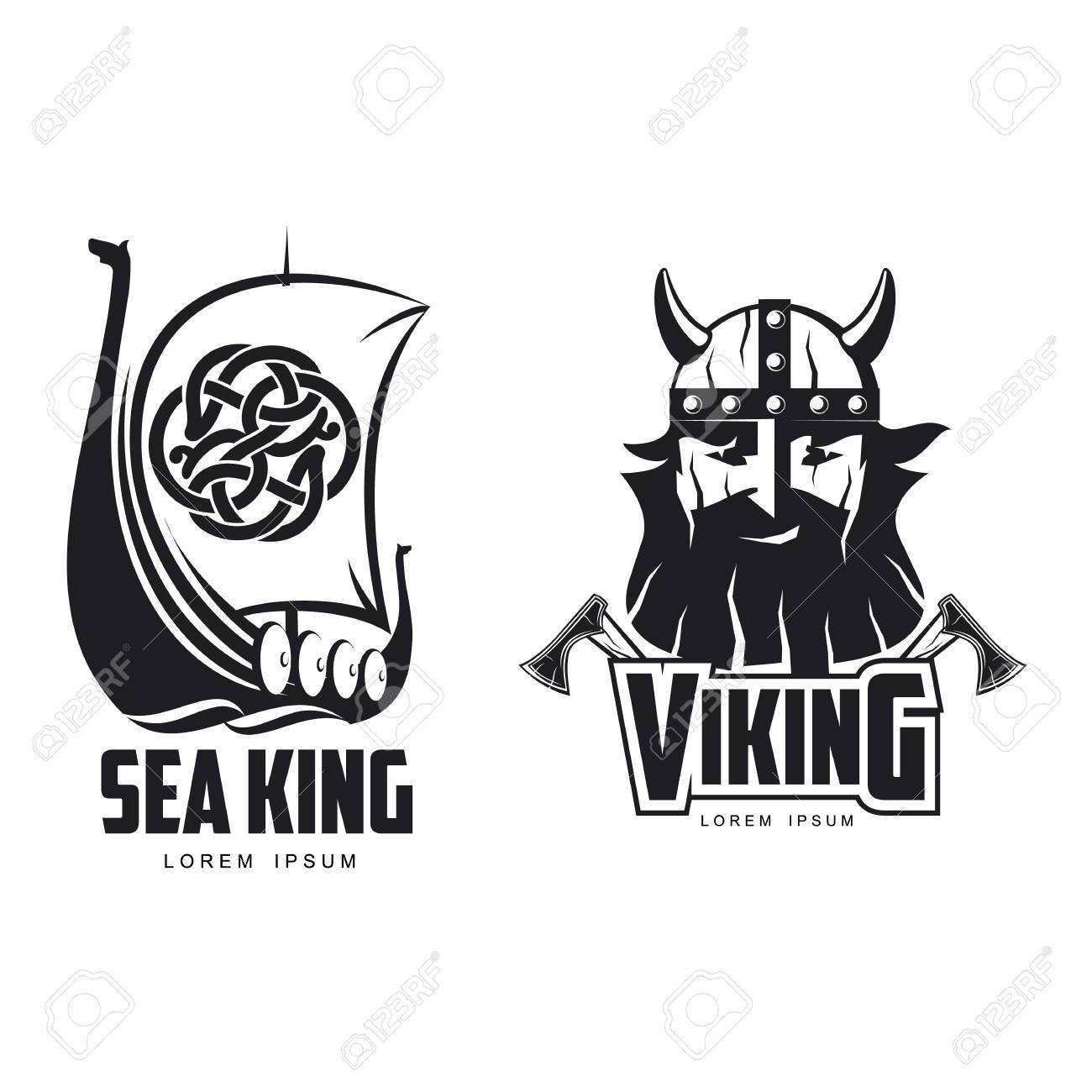 44be4294b36ab Vector - vector vikings icon logo template design simple set flat isolated  illustration on a white background. Axes and man in helmet with mustache  and ...
