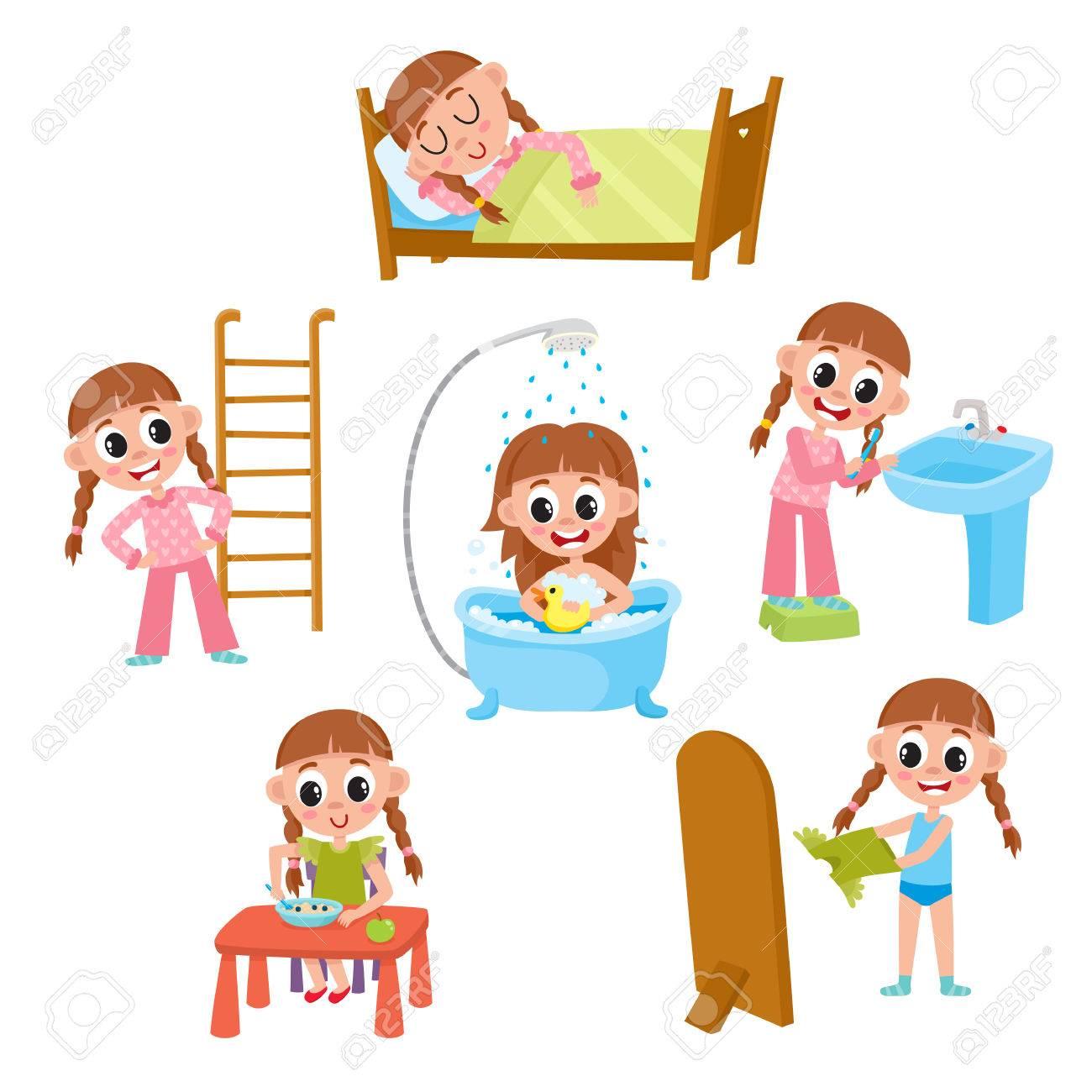 la rutina diaria de la maana nia dormir lavar comer vestirse haciendo ejercicios cepillarse los dientes ilustracin vectorial de dibujos animados