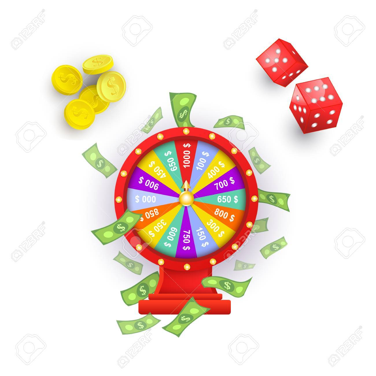 Traditional european roulette table vector illustration stock vector - American Roulette Vector Flat Cartoon Lucky Wheel Of Fortune With Dollar Rain Around Gambling