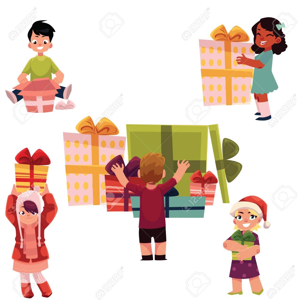 Set Of Kids Children Holding Opening Getting Christmas New Year Birthday