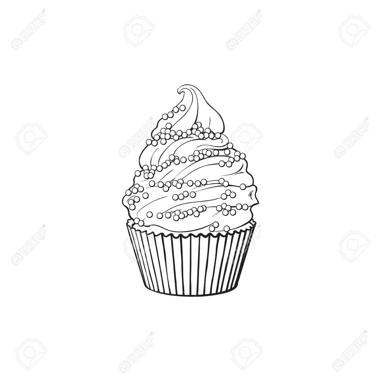 Contour Noir Et Blanc Dessin Cupcake Dessiné Main Croquis Vectoriels Illustration Isolée Sur Fond Blanc Délicieux Biscuit à La Crème Bonbons