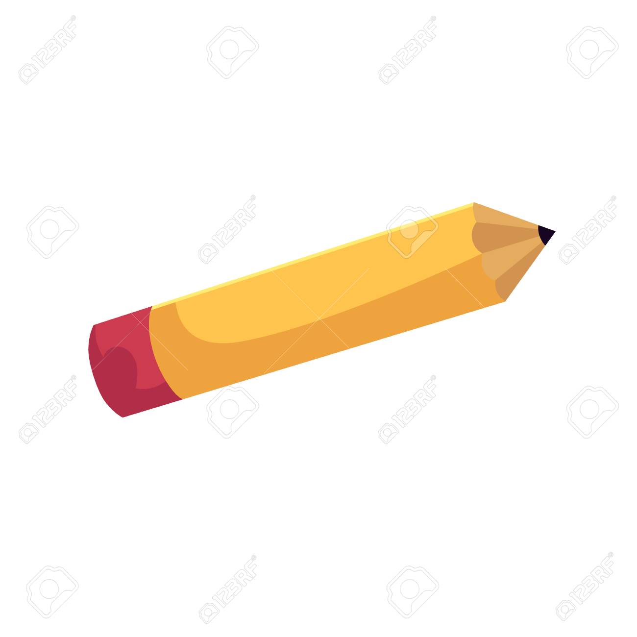 vector flat cartoon school yellow red colored sharpened pencil