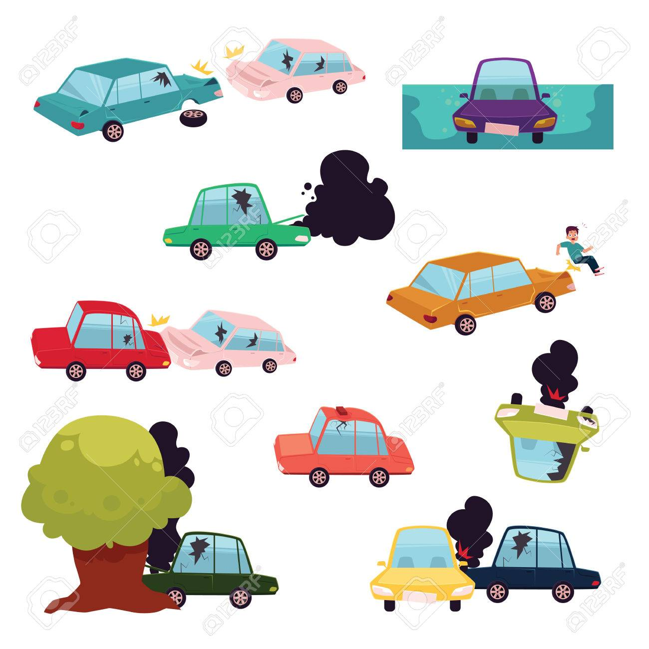 Car Crash, Road Accident, Motor Vehicle Collision Set, Flat ...