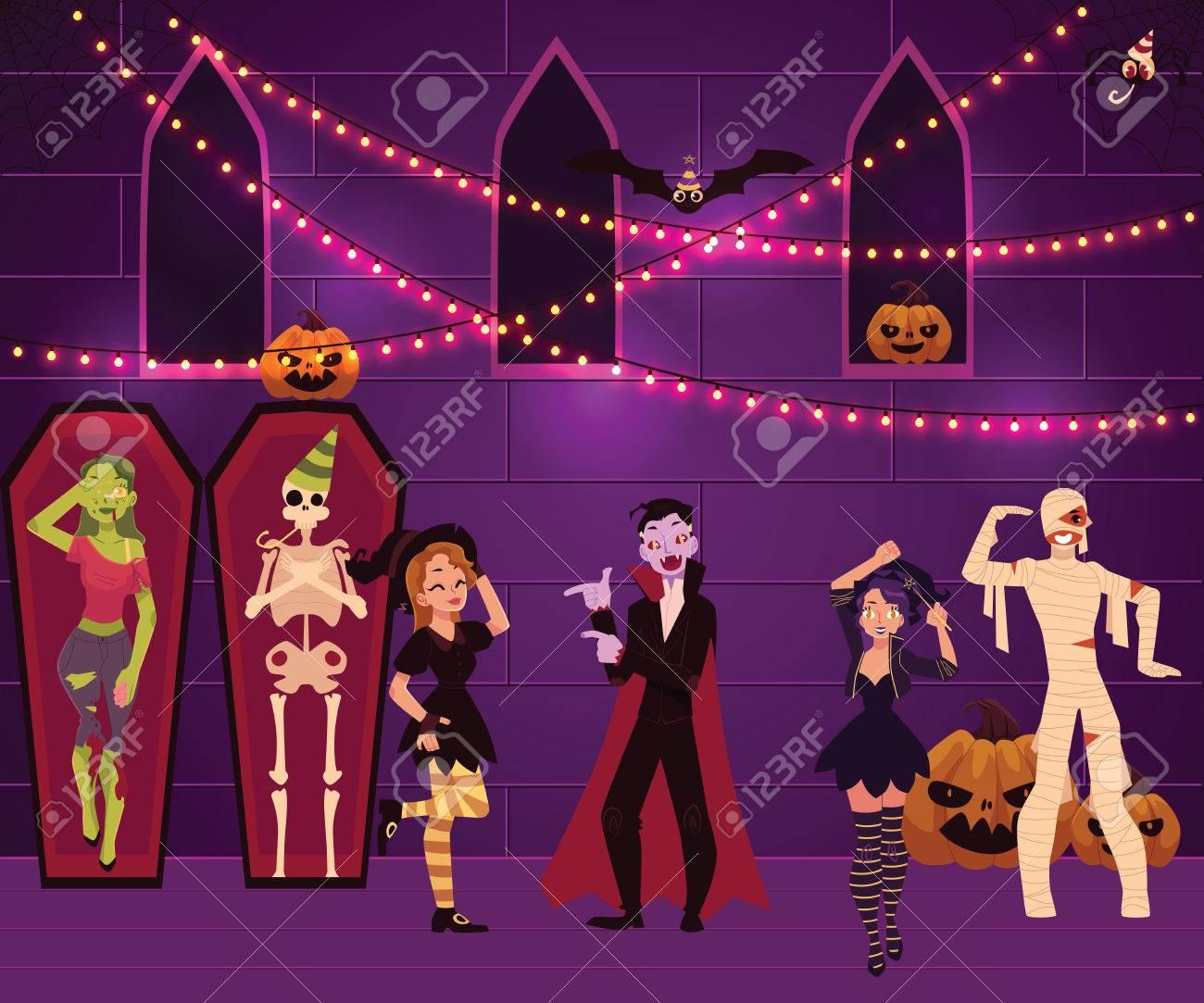 La Gente Que Se Divierte En La Fiesta De Halloween Se Vistió Como ...
