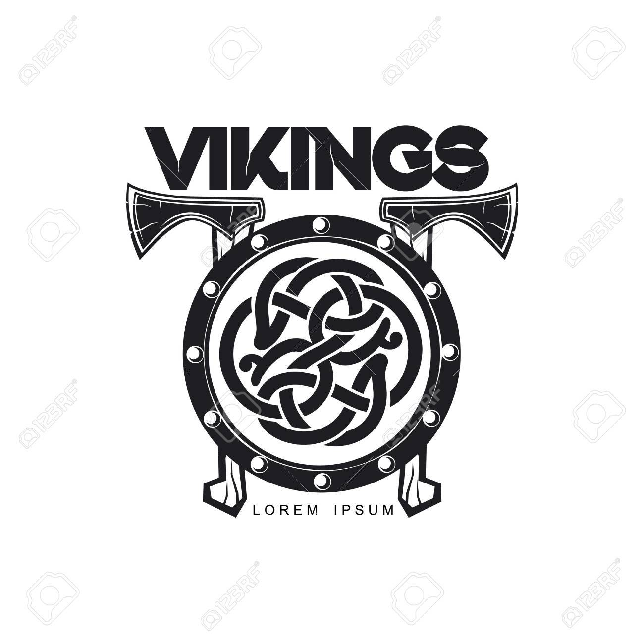60400bc6772a4 Vector - vector vikings icon logo template design simple flat isolated  illustration on a white background. Axes and shield with pattern image