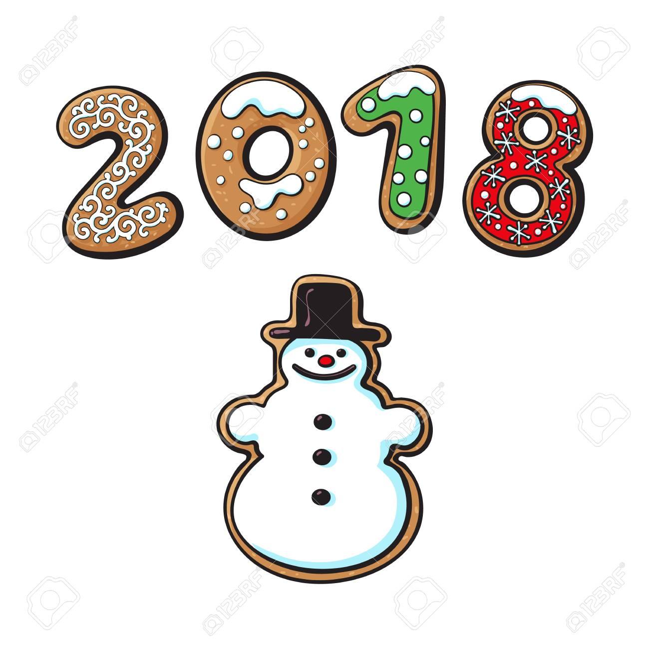 Nouvel an 2018 numéros de bonbons au four gâteau sucré de dessin animé sous la forme de bonhomme de neige gâterie maison traditionnelle