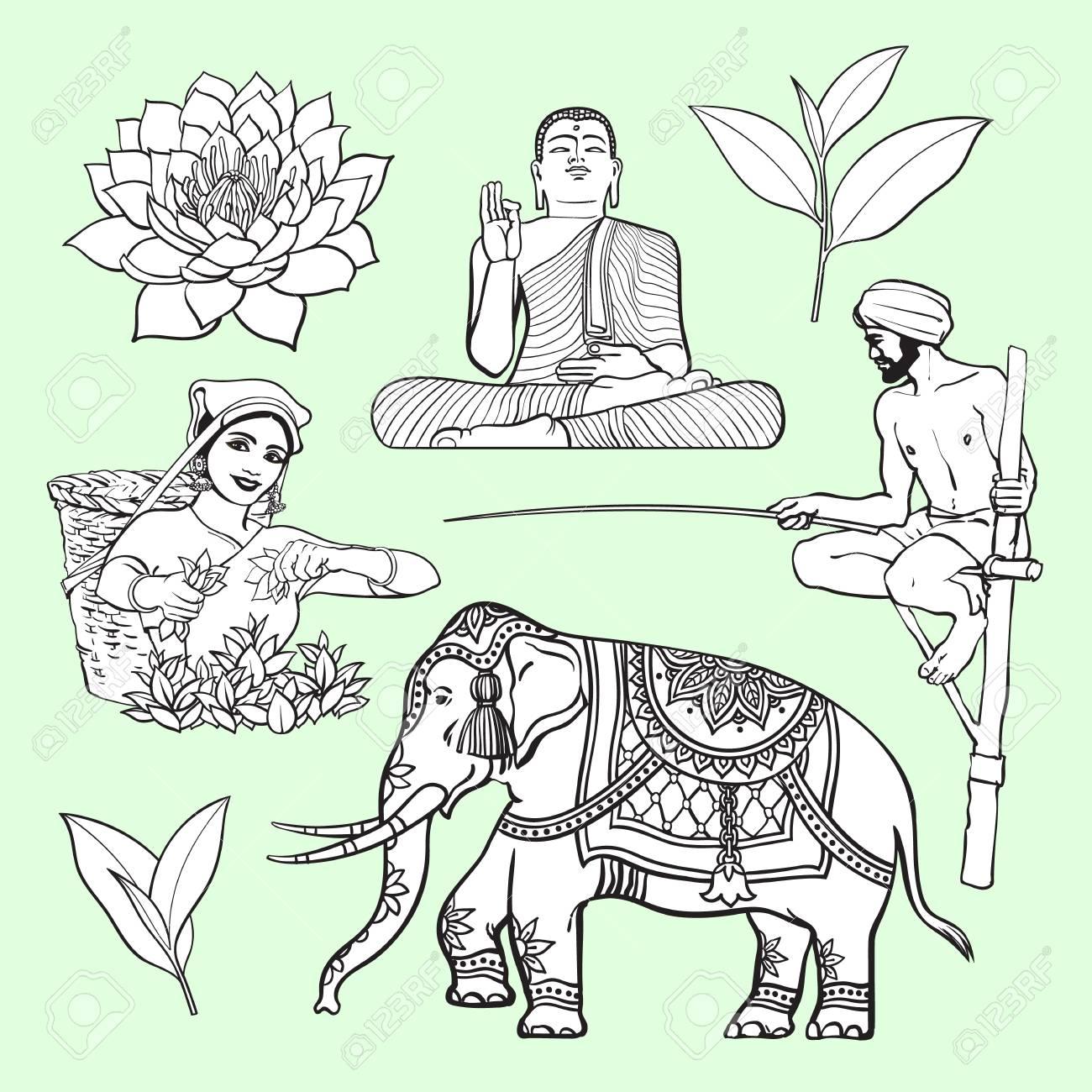 Sri lanka country symbol set water lily buddha statue elephant sri lanka country symbol set water lily buddha statue elephant tea biocorpaavc Choice Image
