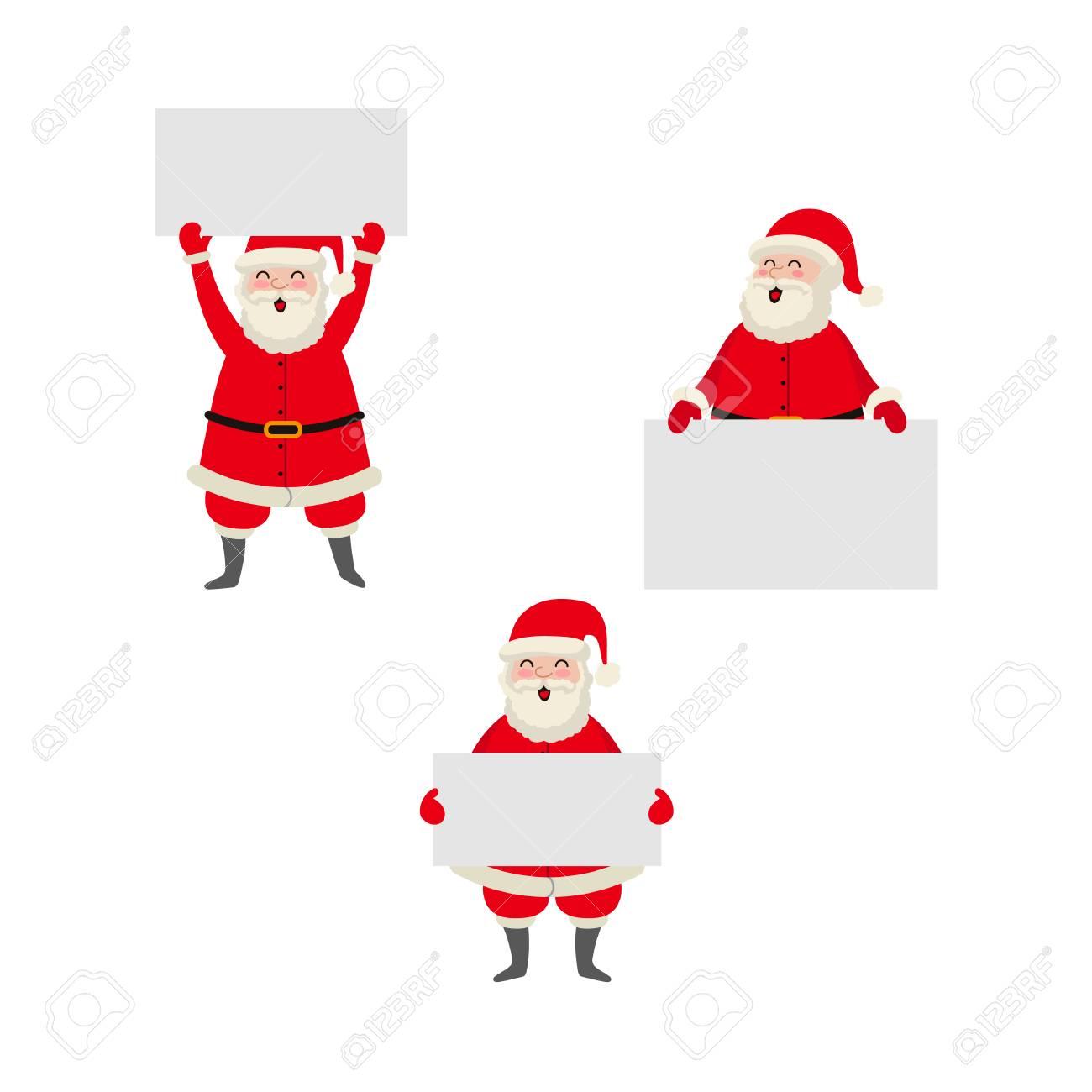 Vector Plana Dos Desenhos Animados Papai Noel Na Roupa Branca