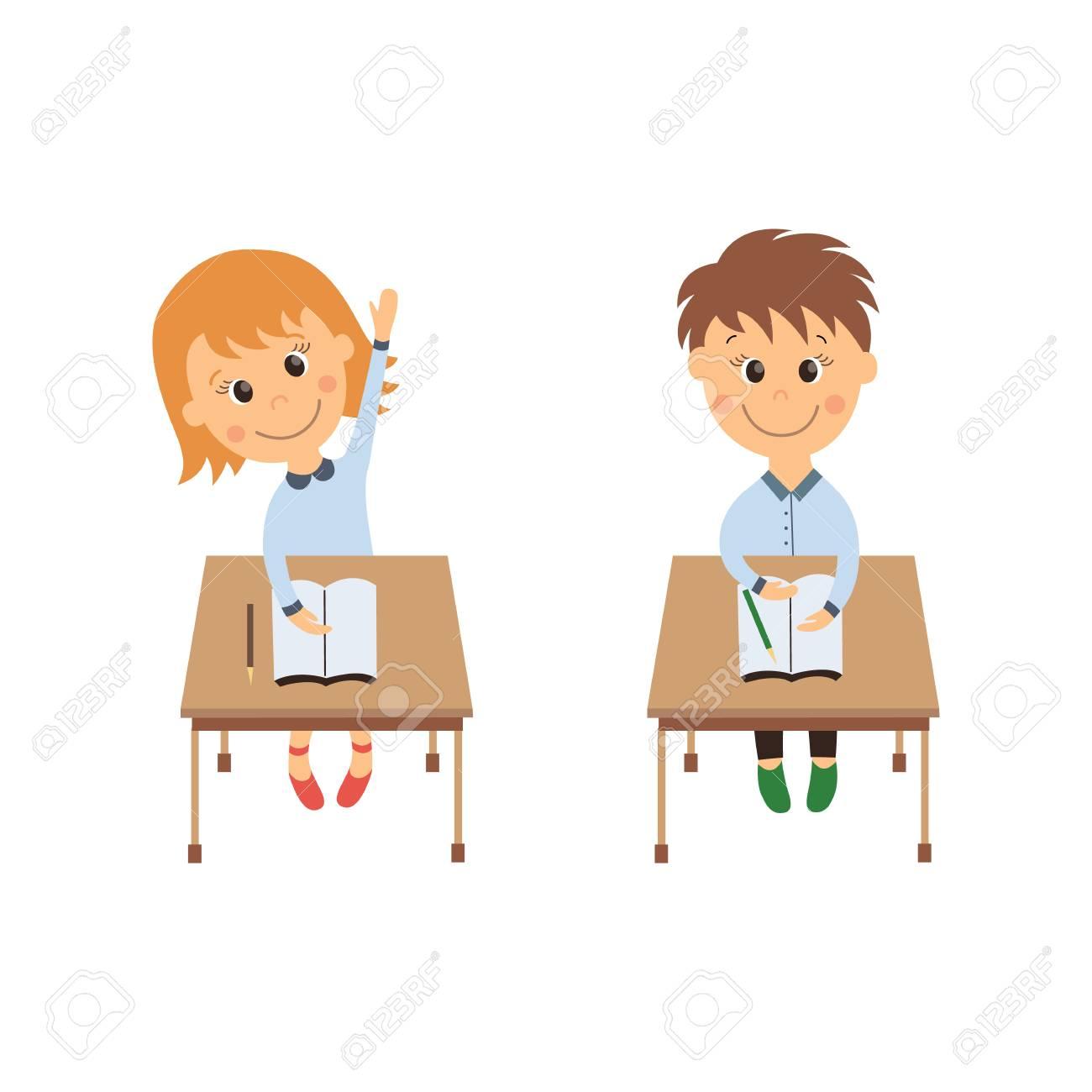 Vecteur De Dessin Anime Plat Ecoliere Mignon Personnage De Garcon Assis Au Bureau A L Ecole Primaire Elever Sa Main En Souriant Illustration Isolee