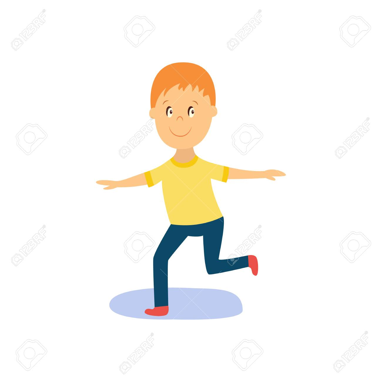 Vector vector flat cartoon boy child dancing alone in yellow t shirt smiling little dancer male character isolated illustration on a white background