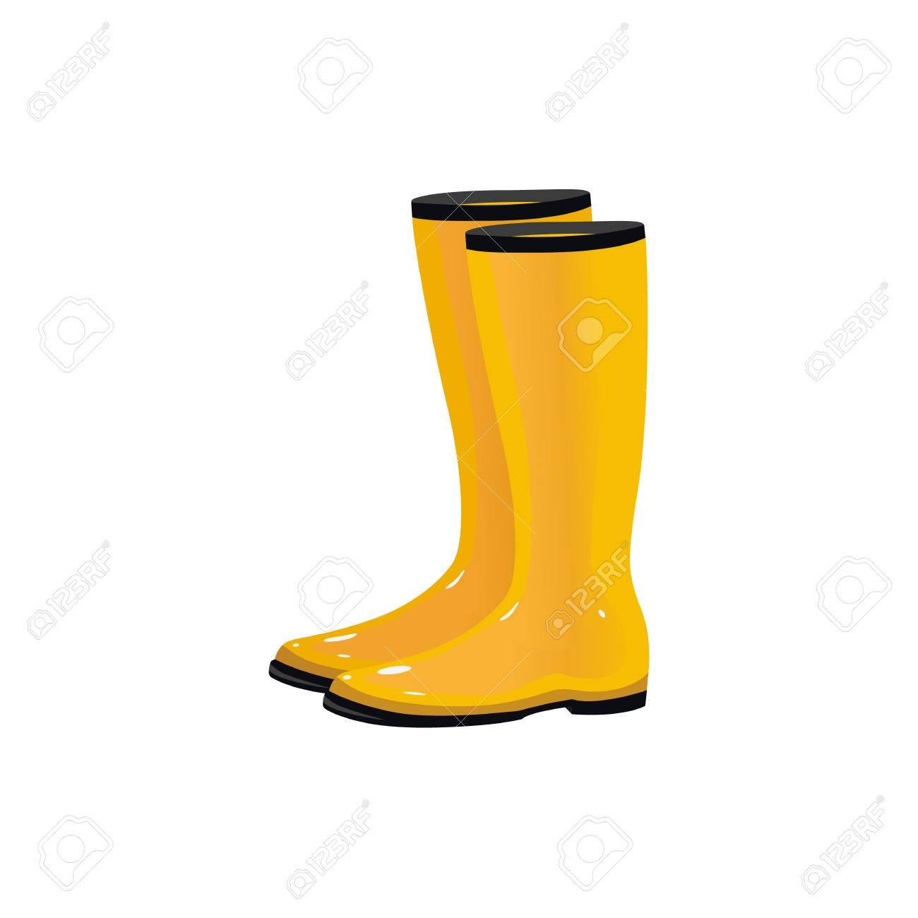 Paire de bottes de pluie imperméables jaunes, wellingtons, chaussures d'automne typiques, illustration de vecteur de dessin animé isolé sur fond