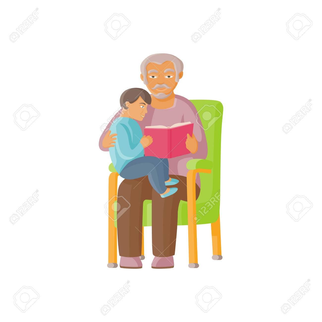 Vecteur Grand Père De Dessin Animé Plat Avec Petite Fille Assise à Genoux Lisant Le Livre Ensemble Illustration Isolée Sur Un Fond Blanc Concept De