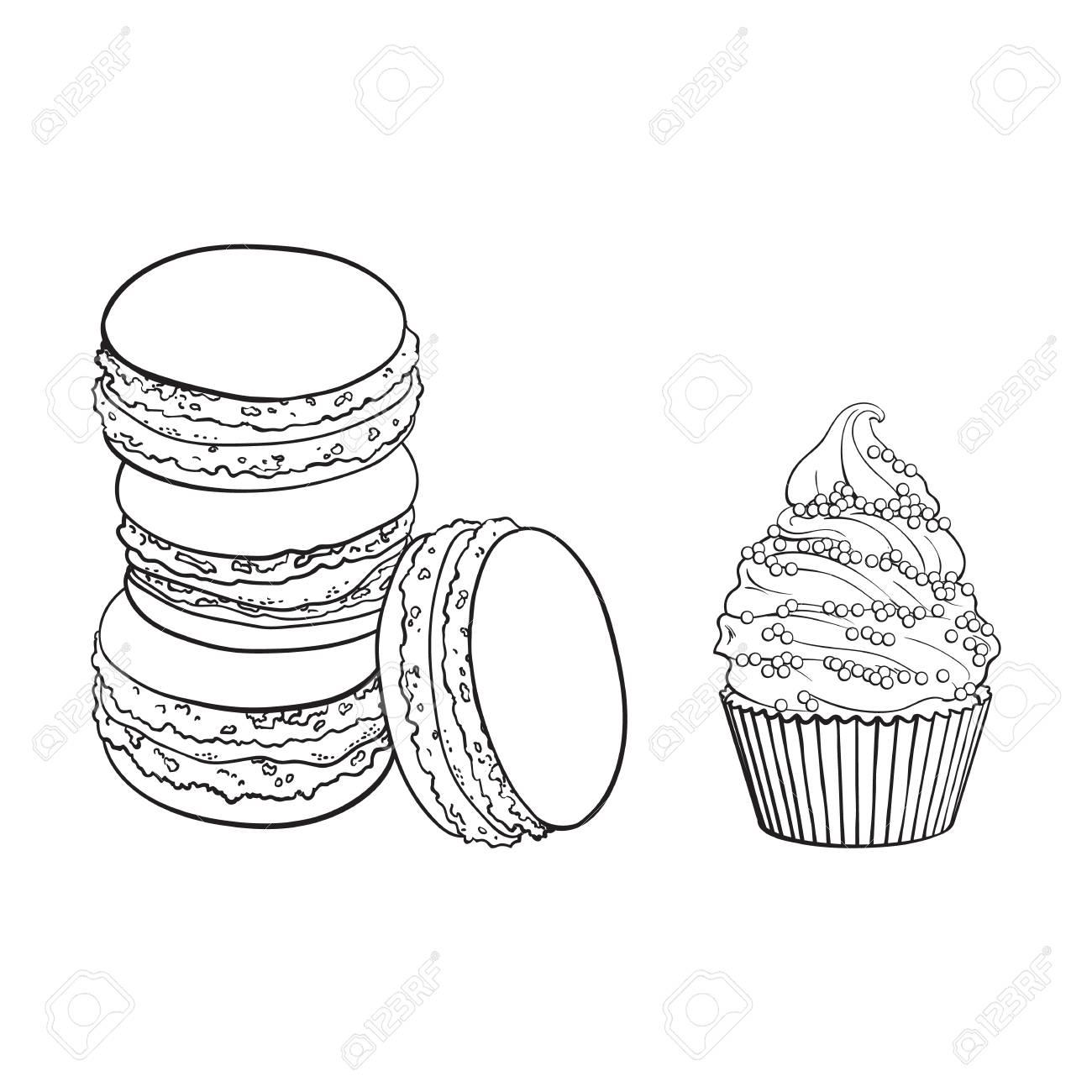 Contour Noir Et Blanc Dessin Cupcake Dessiné à La Main Croquis Vectoriels Macaronis Illustration Isolée Sur Un Motif Blanc Avec Une Saveur Exotique