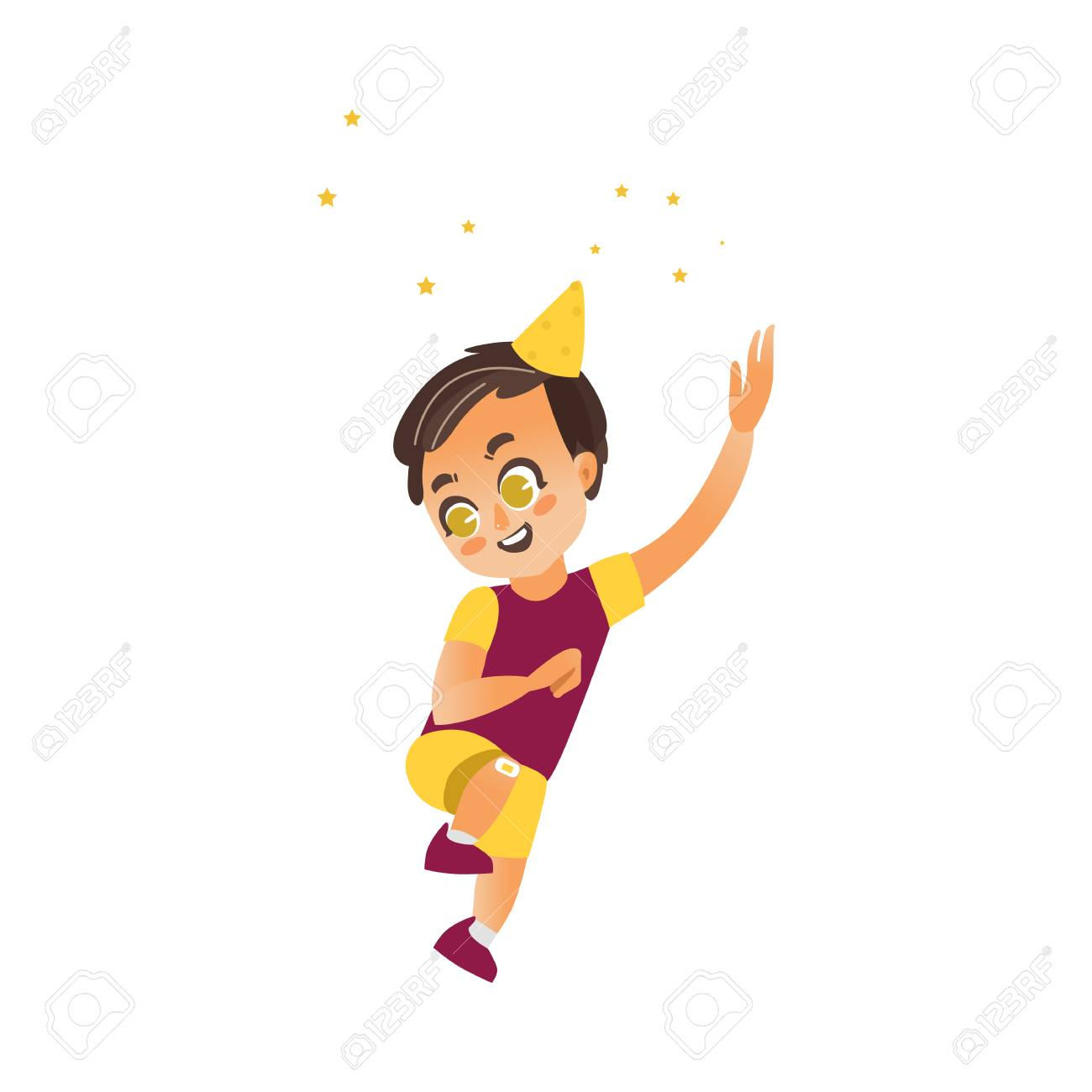 Vector vector flat cartoon boy child dancing alone in party hat throwing confetti smiling little dancer male character isolated illustration on a white