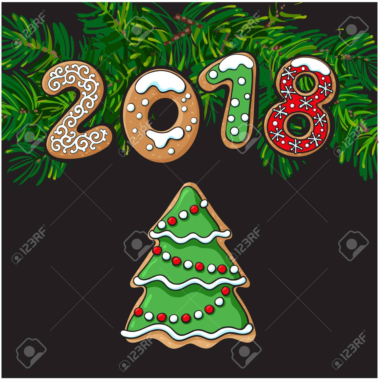 2018 christmas new year greeting card design with xmas tree gingerbread cookie sketch vector