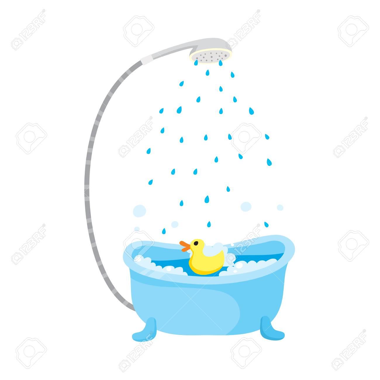 Vector Flat Cartoon Ceramic Empty Bathtube With Shower, Bubbles ...