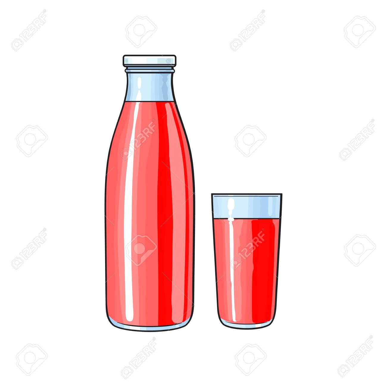 Bouteille En Verre De Dessin Animé De Vecteur Et Une Tasse De Jus De Fruits Frais Rouge Illustration Isolée Sur Un Fond Blanc Boisson Gazeuse Image