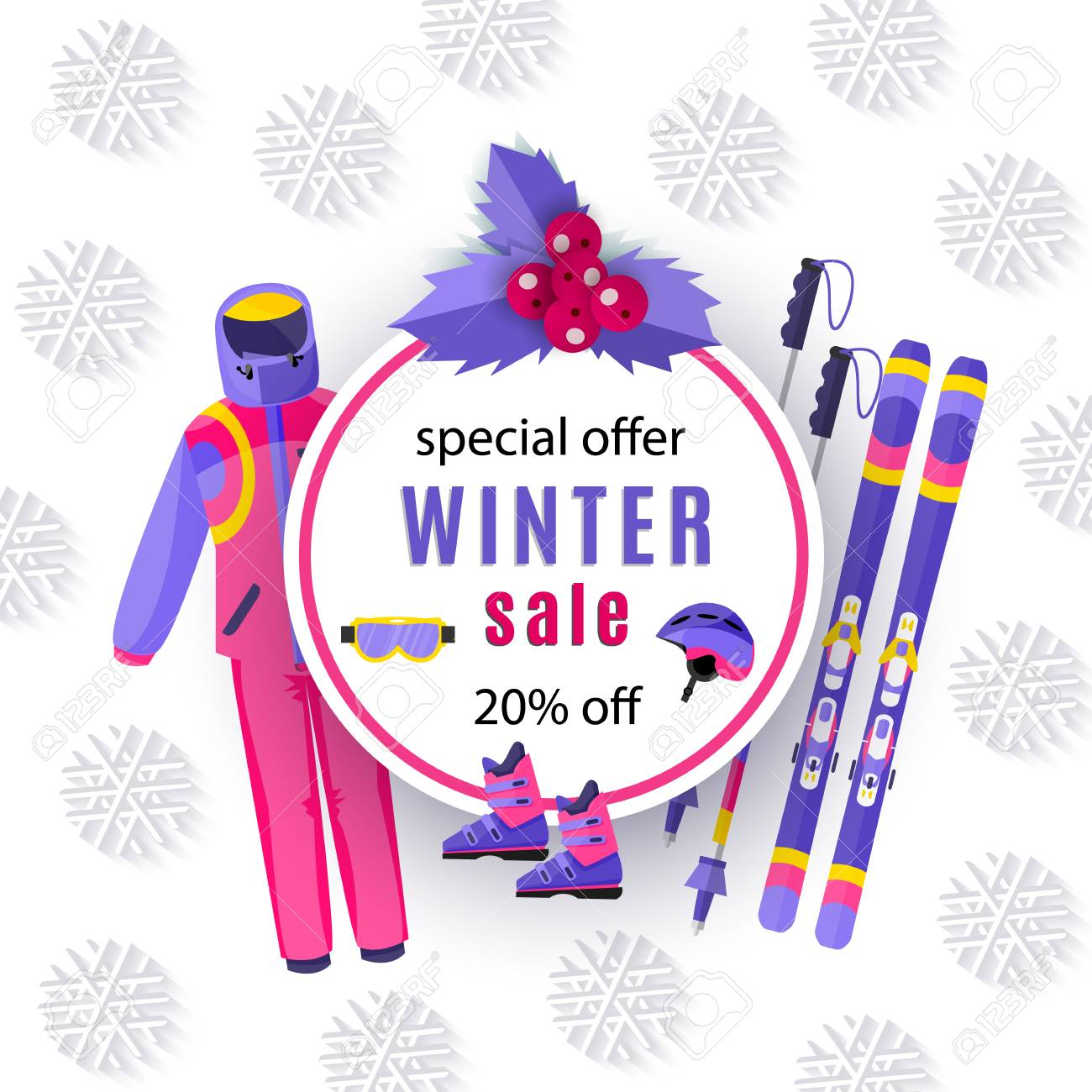 low priced 4b684 d0b13 vector winter sale poster template. Winter active outdoor sport..