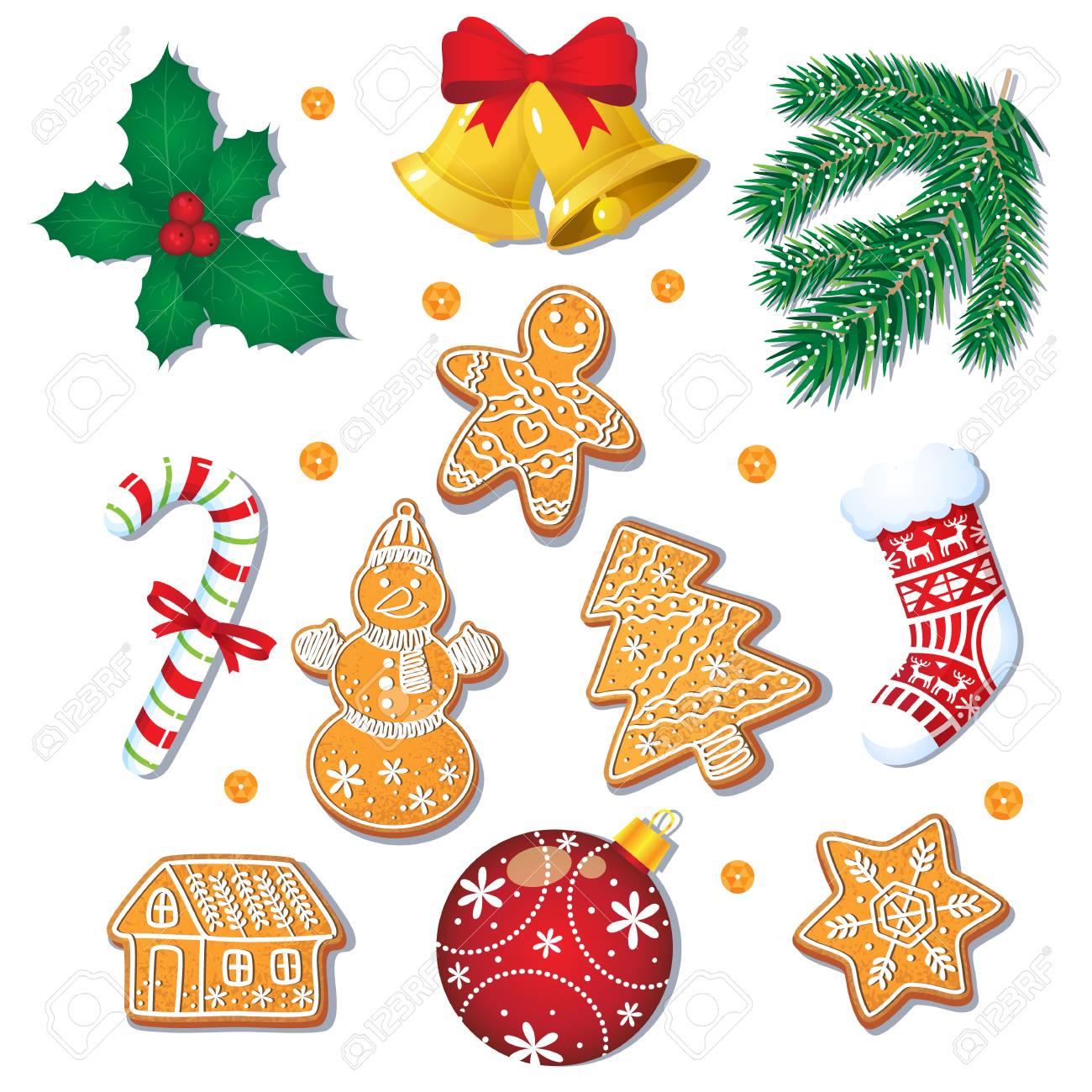Imagenes De Galletas De Navidad Animadas.Gran Conjunto De Galletas Y Decoraciones De Jengibre De Navidad Glaseadas Abeto Muerdago Baston De Caramelo Ilustracion Vectorial De Dibujos