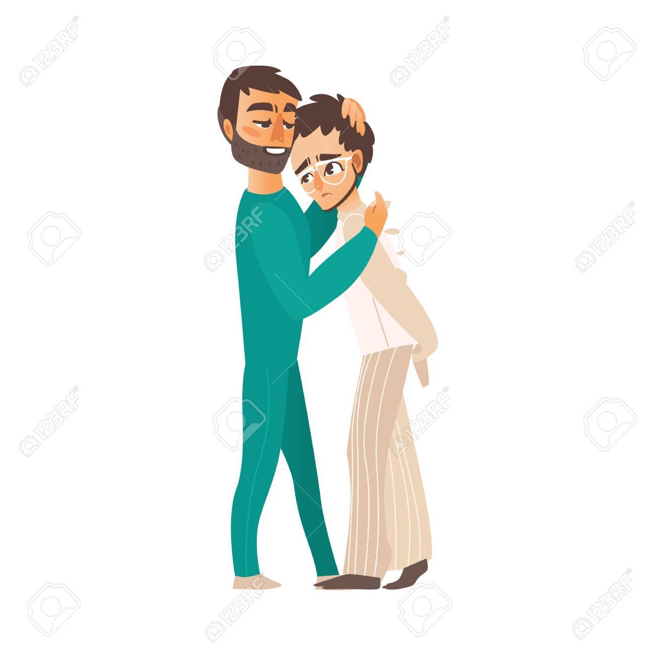 Vector Flat Doctor Hugging Man In Psychiatric Hospital Mental