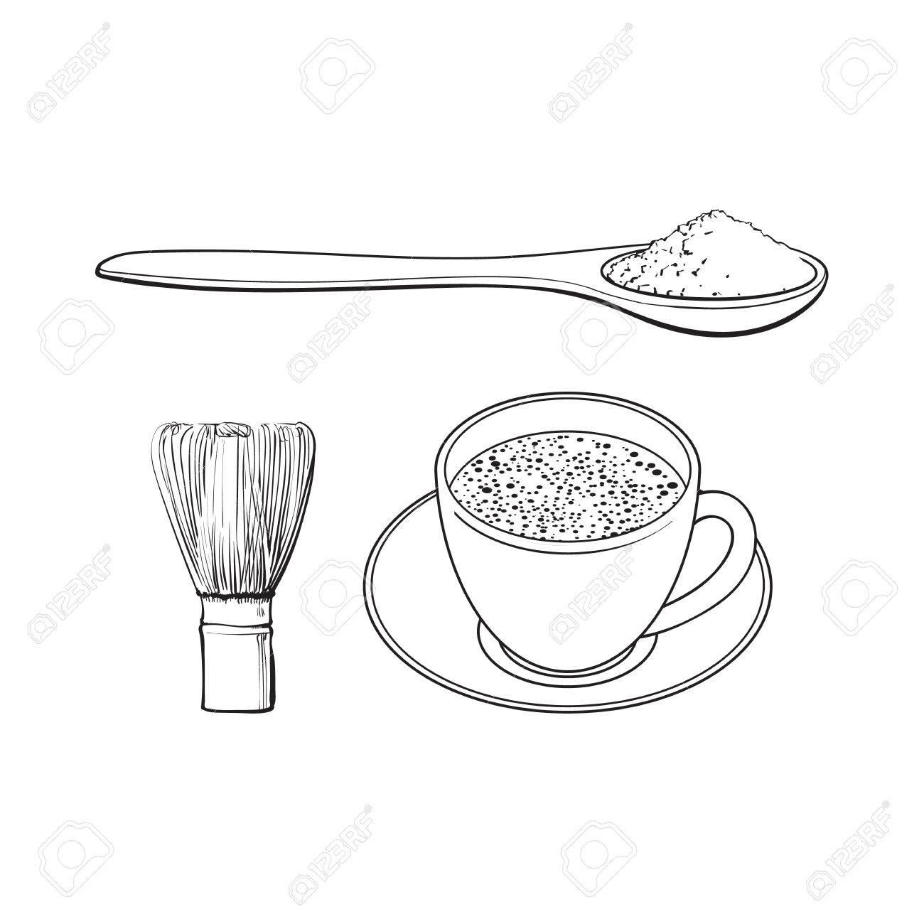 Desenho Preto E Branco Do Contorno Copo Ceramico Tirado Mao Dos