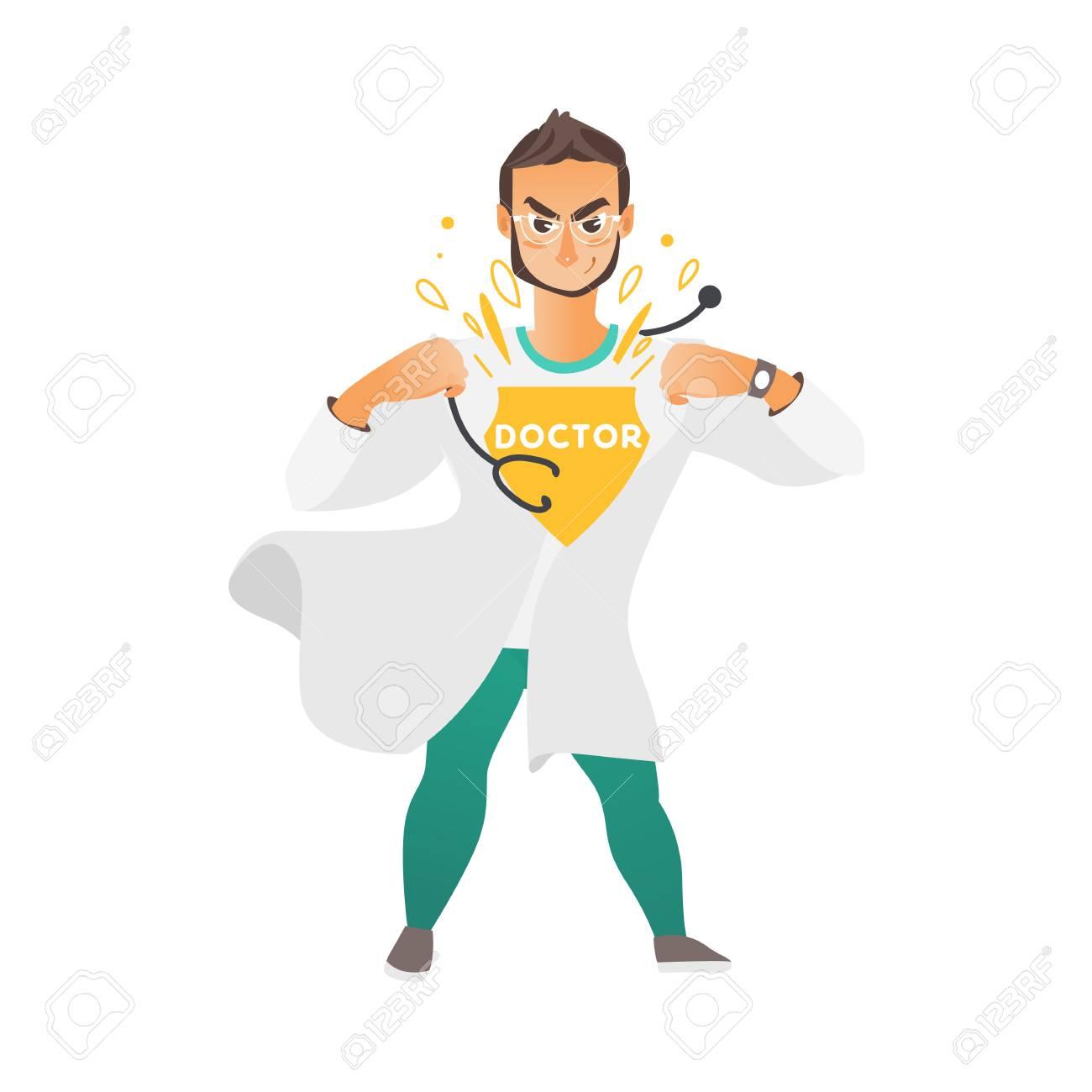 Vecteur De Dessin Animé Plat Jeune Mâle Super Docteur Beau Médecin En Vêtements Médicaux Robe Blanche Et Lunettes Souriant Illustration Isolée Sur