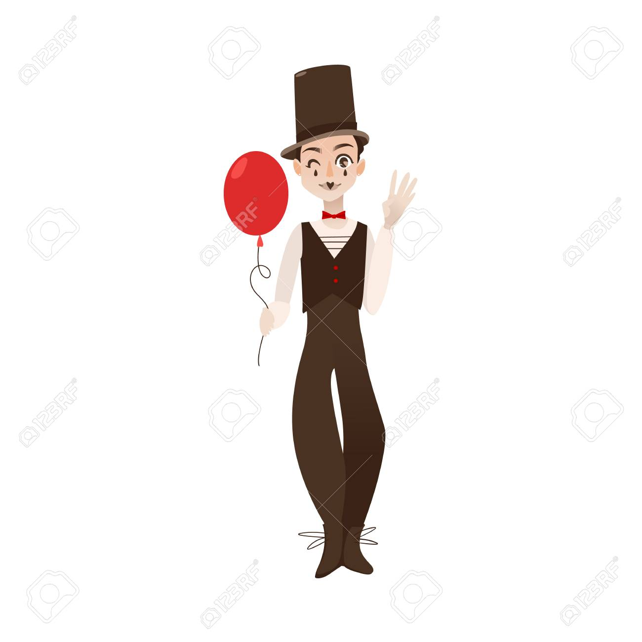 Vector Flat Cartoon Man Clown In Black And White Suit, Red Bowtie ...