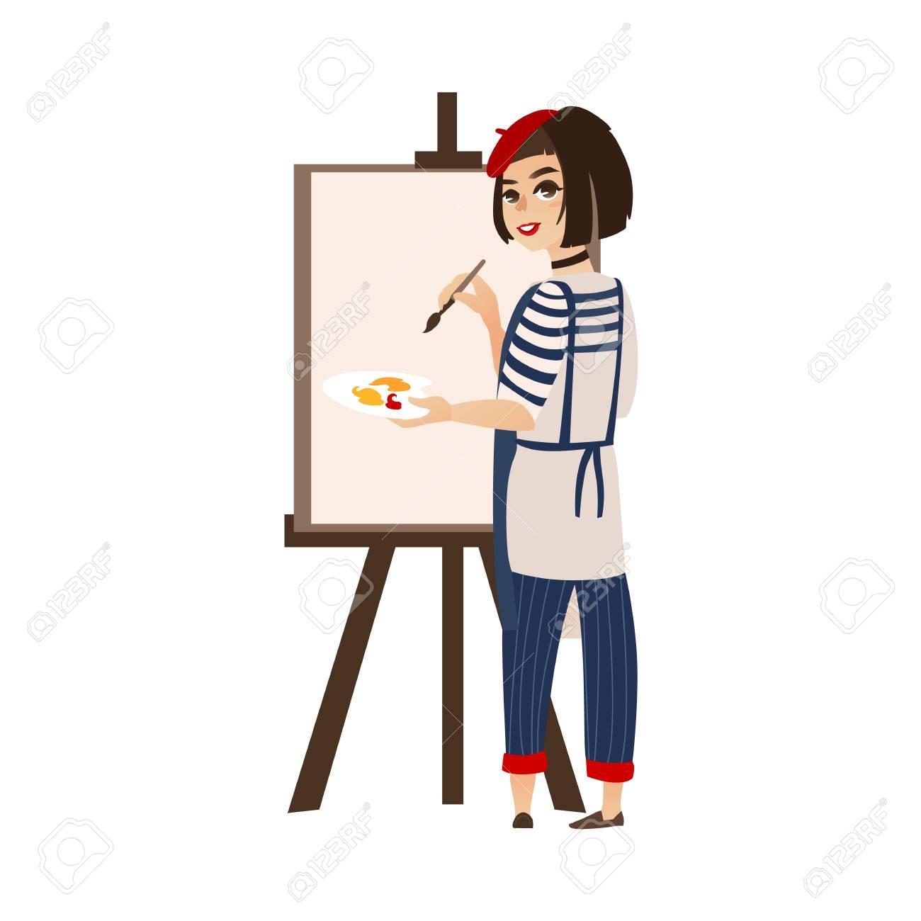 dc7bb7e5330 Vector flat cartoon woman artist painter wearing beret drawing jpg  1300x1300 French artist hat cartoon