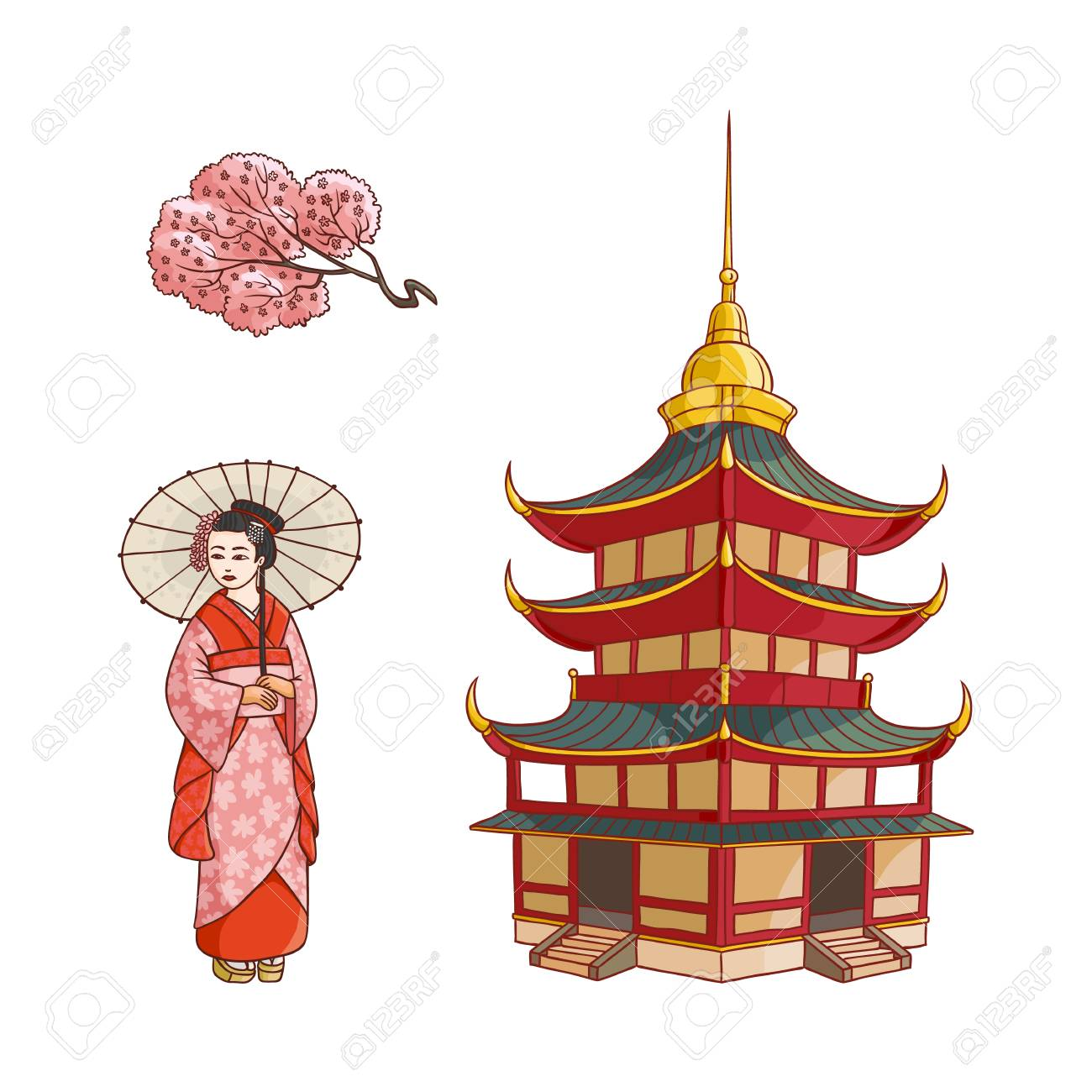 c6b2de2b2b572 Asian japan china oriental symbols concept set. Blooming sakura branch with  flowers, traditional pagoda