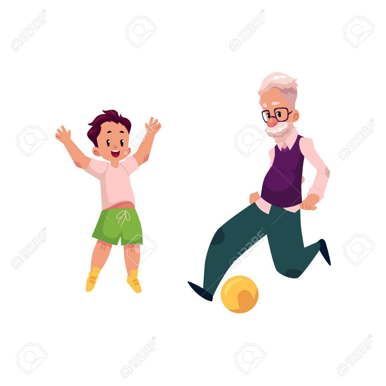 Grandfather, old man playing football with his grandson, teenage boy, cartoon vector illustration isolated on white background. Granddad grandparent and grandson playing football, happy family concept - 87470487