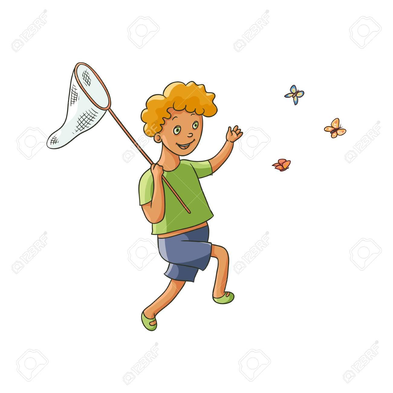 少年は子供を実行し白い背景で隔離ネットフラット漫画ベクトル