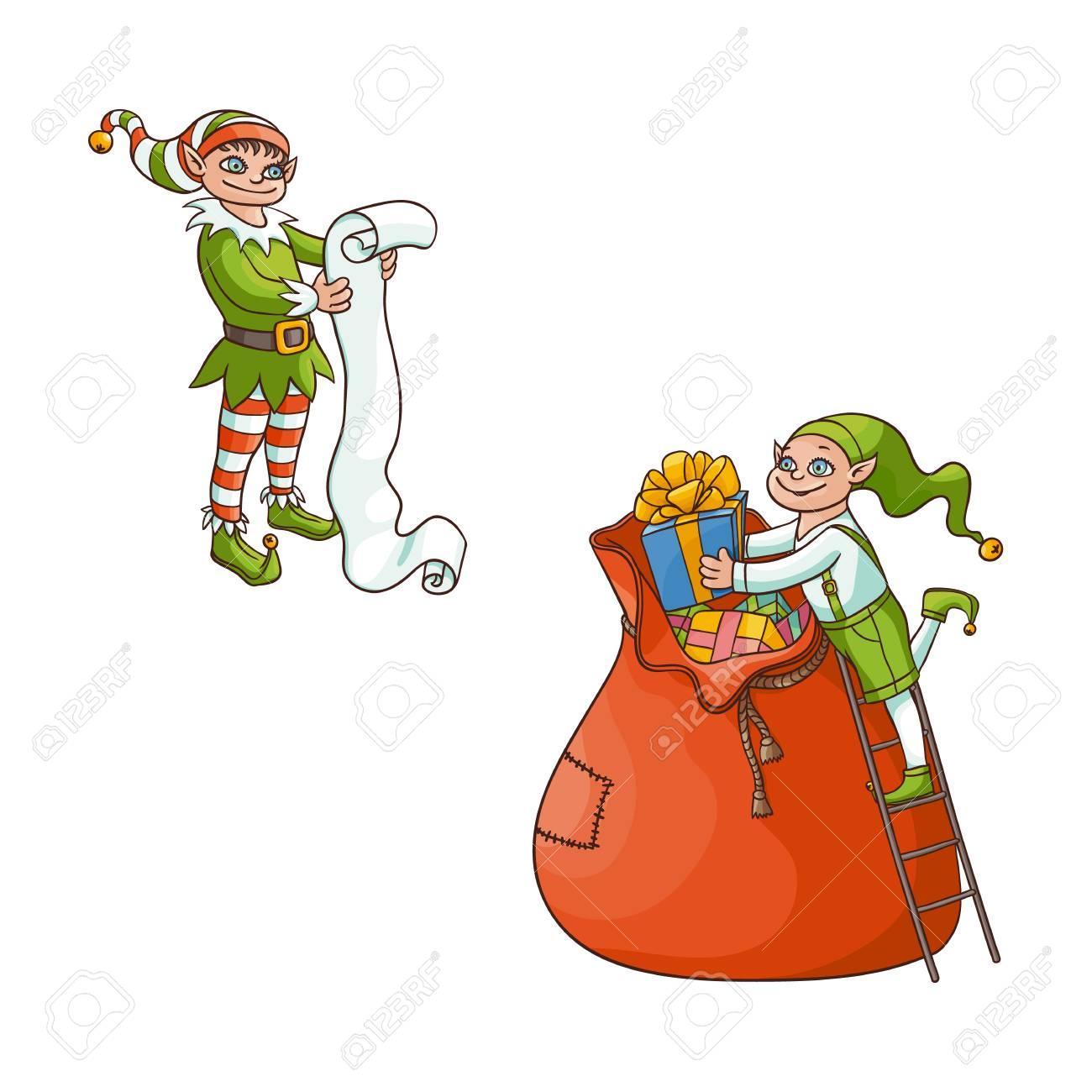bedcb31143ba Vecteur Dessin Animé Plat Dessinés à La Main Garçon Elfe De Noël En Bonnet  De Noel Pliant Présentoir D or Boîtes En Grand Sac, Un Autre Elfe Tenant  Grand ...