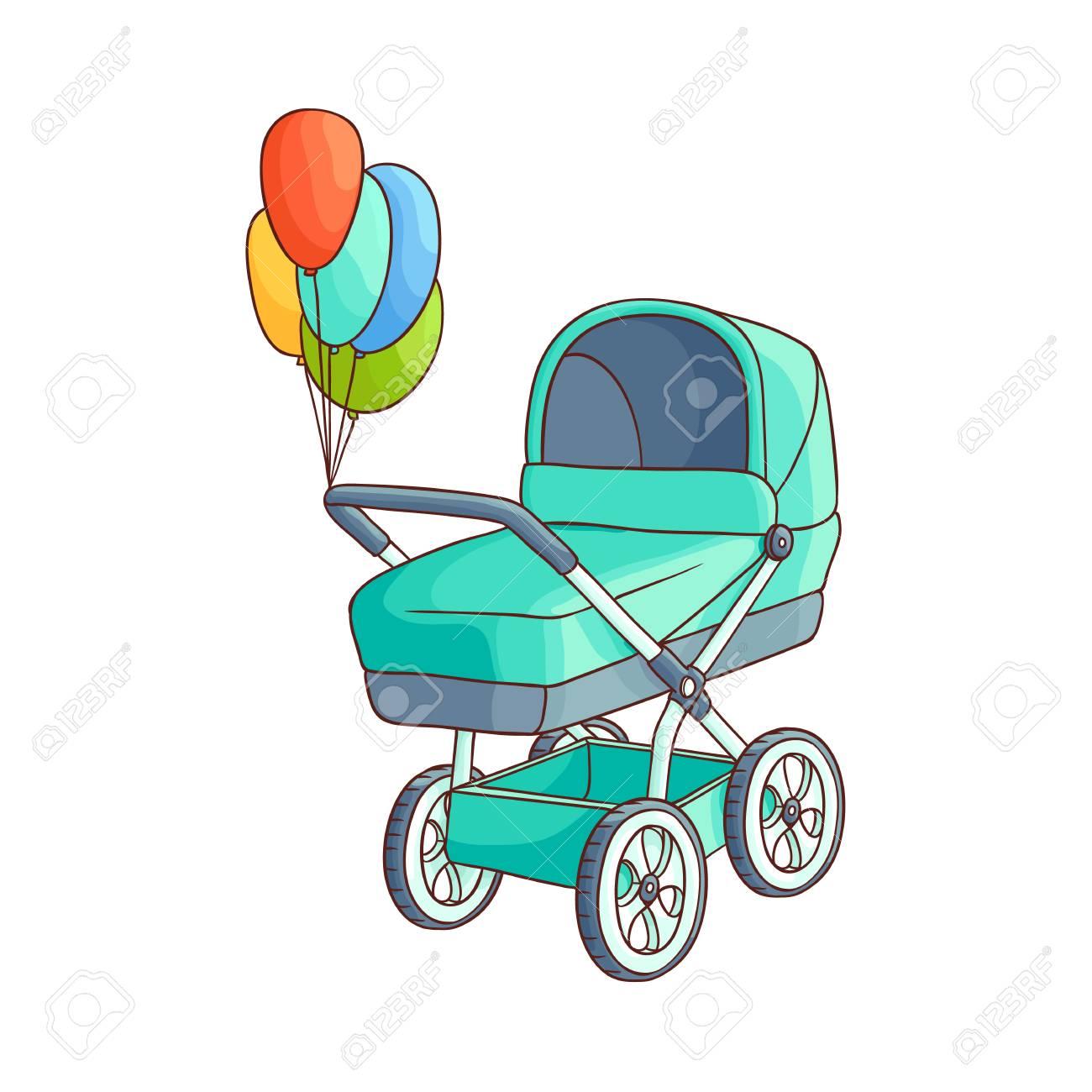 Vector cochecito de bebé o cochecito de dibujos animados plana, cochecito de niño cochecito azul con globos de aire de felicitación. Ilustración