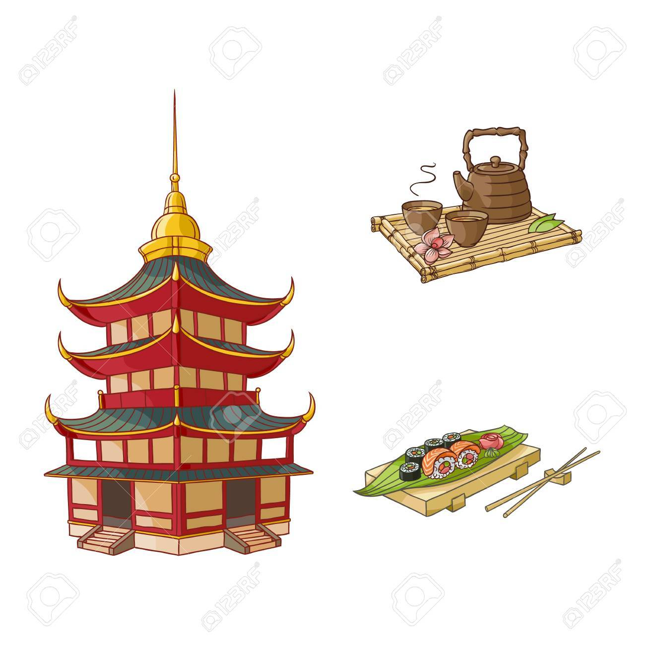 70390299a2be0 Vector - vector flat asian japan, china oriental symbols concept set.  traditional pagoda building, sushi with ginger, wasabi and kettle with caps  for tea ...