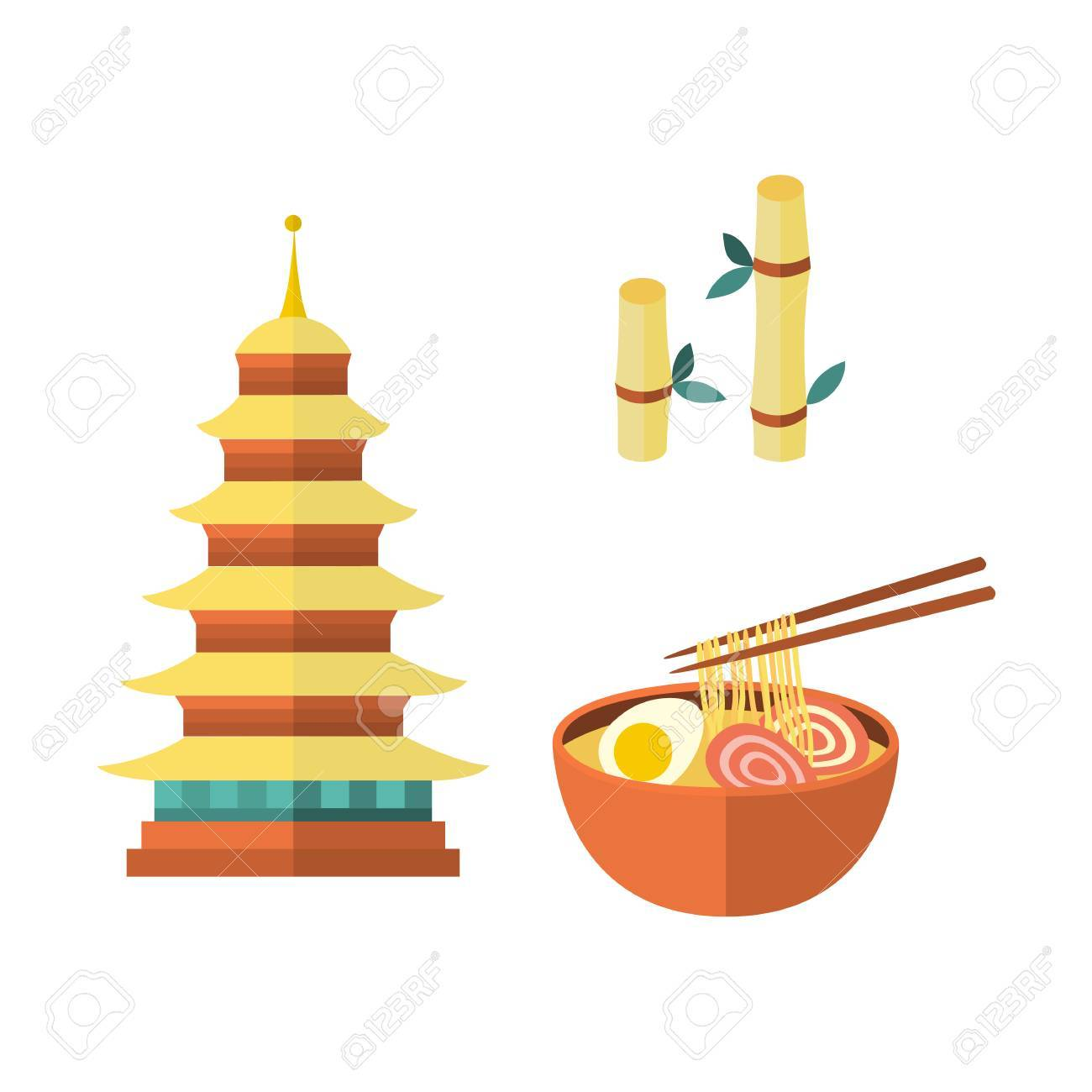Set Of Japanese Culture Symbols Multi Storied Pagoda Egg Noodle