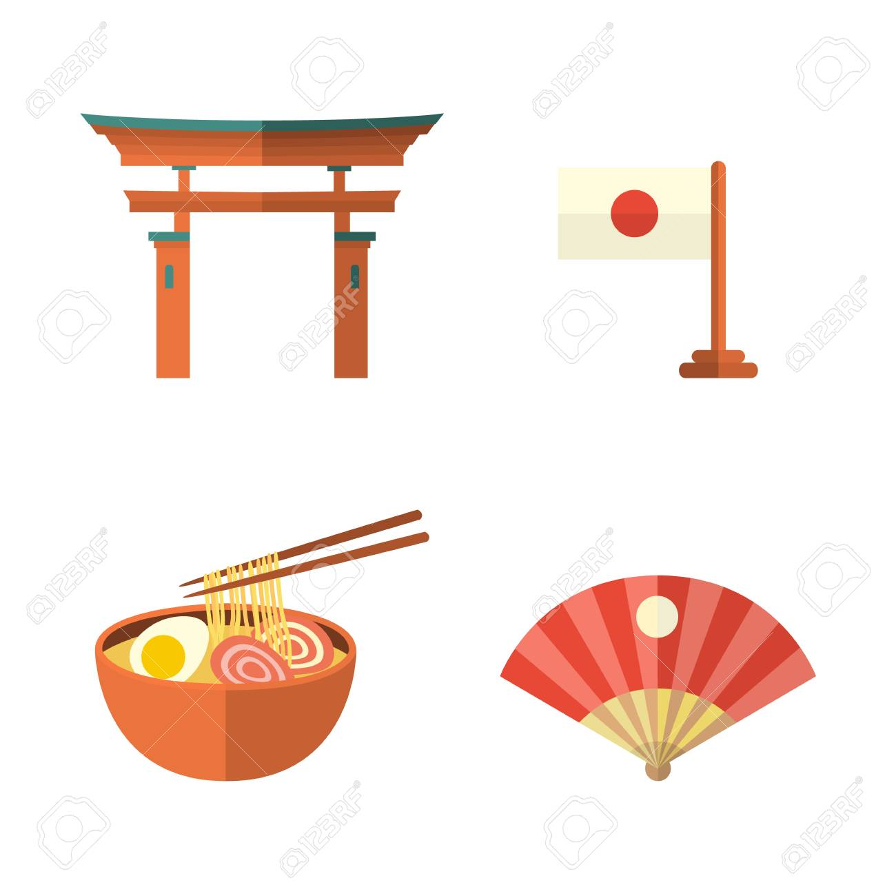 Set Of Japanese Culture Symbols Torii Gate Fan Egg Noodle