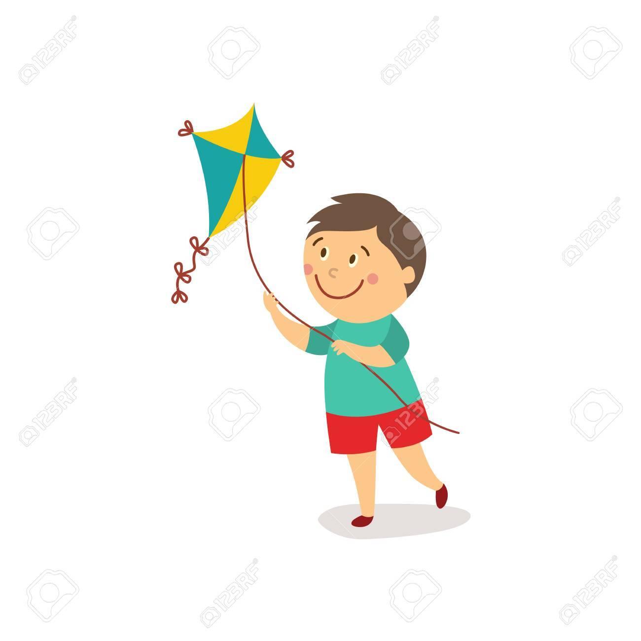 Garcon De Dessin Anime Plat Vecteur Kid Lancement Colore Cerf Volant Souriant Activite Des Enfants Dans Un Concept De Jardin Illustration Isolee Sur Un Fond Blanc Clip Art Libres De Droits Vecteurs