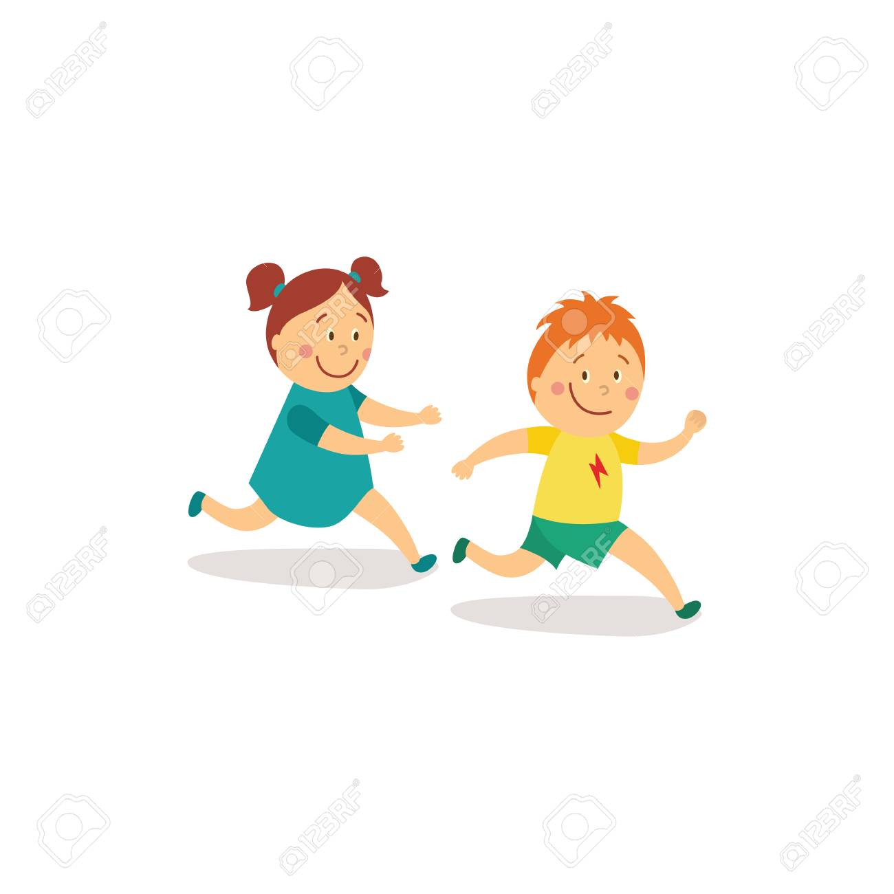 Vector Flat Cartoon Girl And Boy Kids Having Fun Playing Catch Up Royalty Free Cliparts Vectors And Stock Illustration Image 87535215