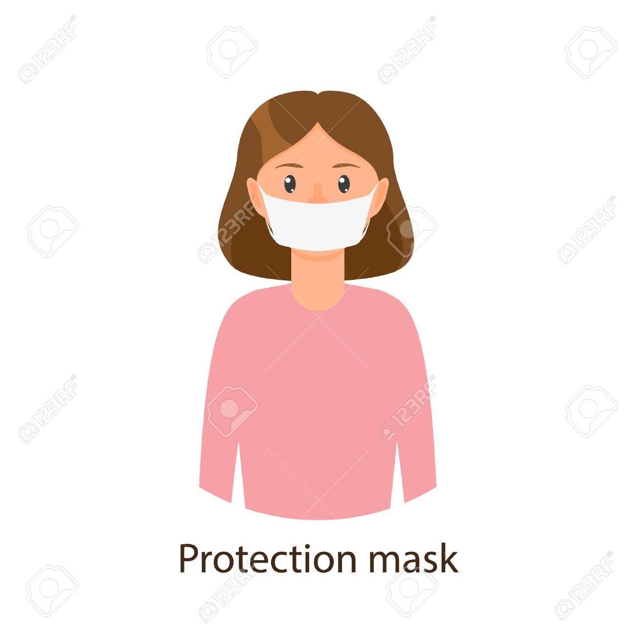 Vector cartoon young girl in pink pullover wearing protection mask. Flat isolated illustration on a white background. Illness and disease symptoms concept - 87535234