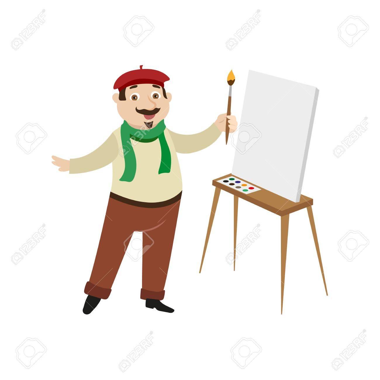 5772665d3cc Vector flat cartoon man artist painter wearing beret scarf mustache jpg  1300x1300 French artist hat cartoon