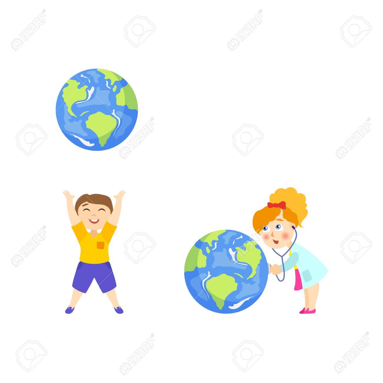 Garçon Jetant Le Gros Globe Vers Le Haut Fille En Manteau De Médecin En écoutant Le Coeur De La Planète Terre Illustration De Vecteur De Dessin