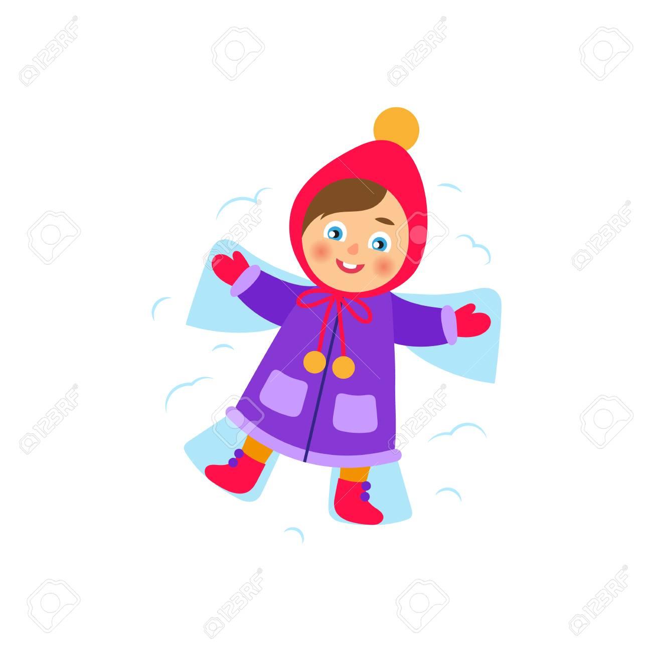 Fille De Vecteur Se Trouvant Dans La Neige Faisant Ange Des Neiges Illustration De Dessin Animé Plat Isolé Sur Fond Blanc Kid S Amuser Avec De La