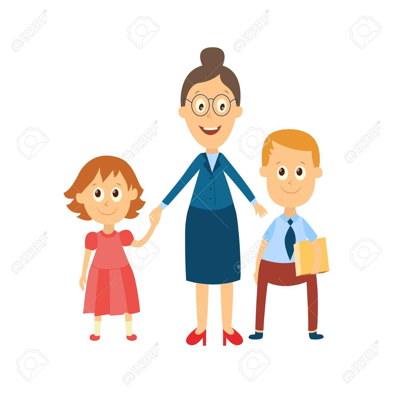 3af153fda7 Foto de archivo - Vector maestro de mujer adulta de dibujos animados plana  en gafas abrazos niño y niña niños pupilas sosteniendo libros, cuadernos.