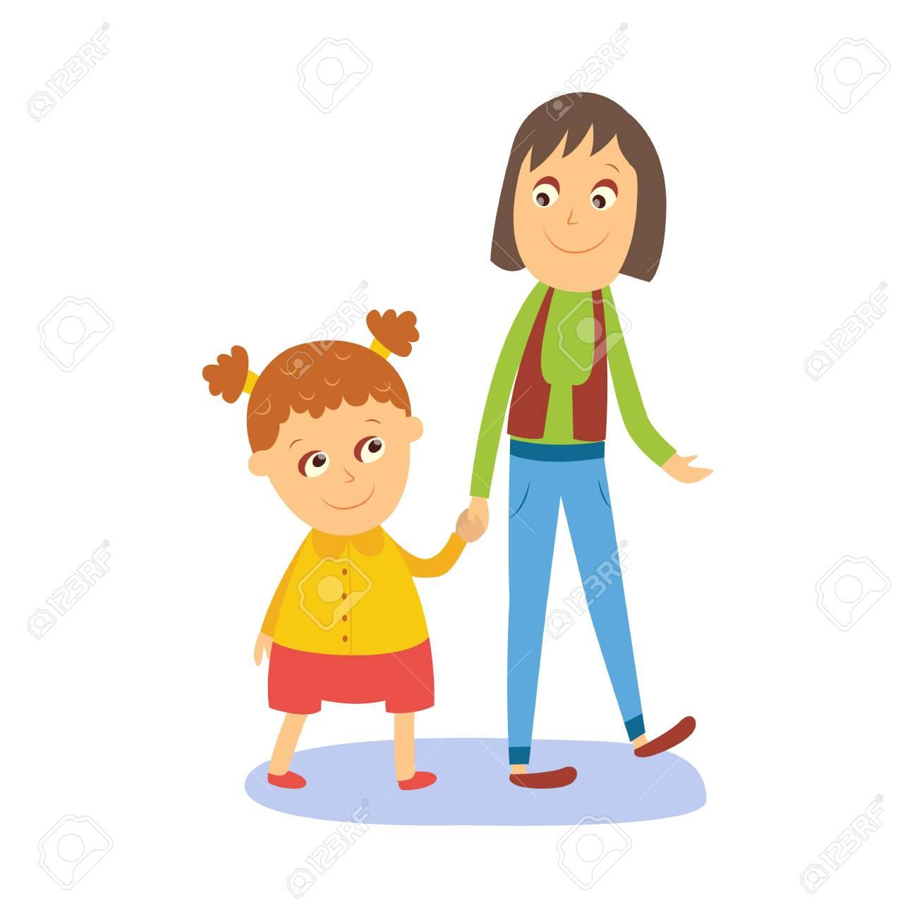 Mère Et Fille Petite Fille Marchant Avec Sa Maman Main Dans La Main Illustration De Vecteur De Dessin Animé Style Plat Comique Isolée Sur Fond