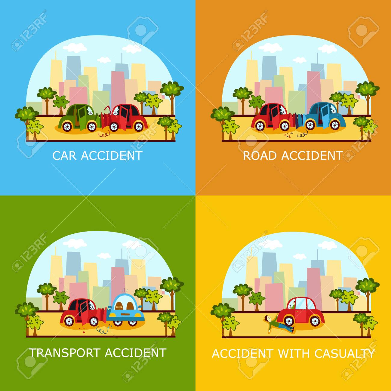 Set of car accident banners - head on, rear end, side collision
