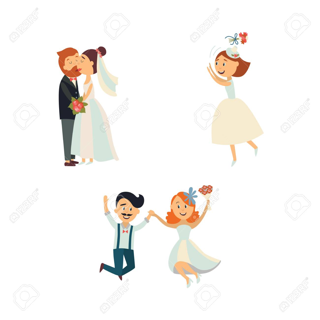 Couple De Mariage Drole Embrasser Et Sauter Mariee Jetant Des Fleurs Illustration De Vecteur De Dessin Anime Plat Isole Sur Fond Blanc Comicbwedding Couple Drole Etreindre Et Embrasser Lancer Des Fleurs Clip
