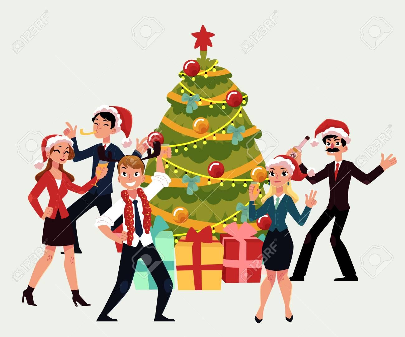 Gente Feliz En Navidad.Gente Feliz Que Tiene Fiesta De Navidad Corporativa Bailando Alrededor Del Arbol De Navidad Ilustracion Vectorial De Dibujos Animados Aislado Sobre