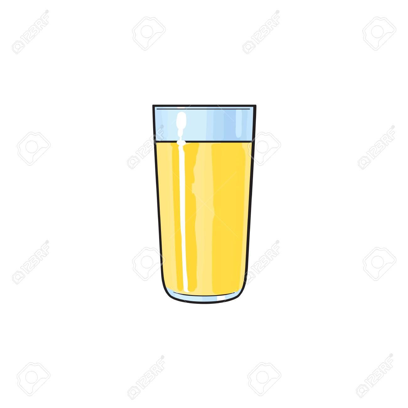 Tasse En Verre De Dessin Animé De Vecteur De Jus De Fruits Frais De Citron Illustration Isolée Sur Un Fond Blanc Boisson Gazeuse Image