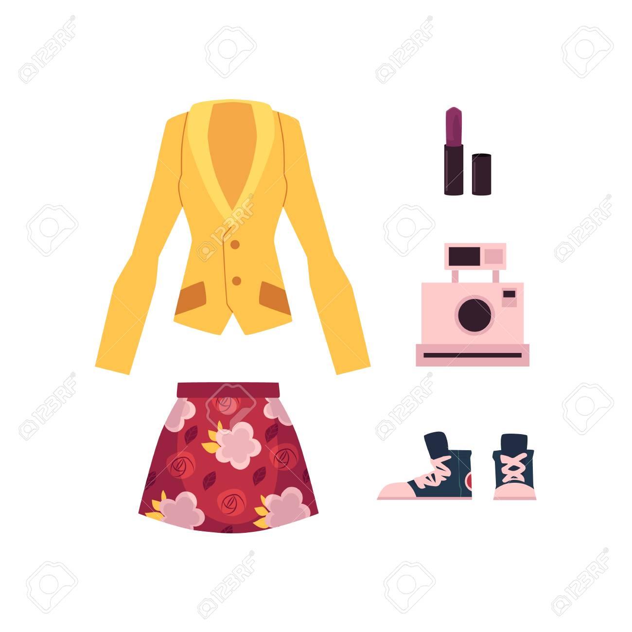 ベクトル フラット女性服アパレル セット。赤花柄スカート、オフィス企業