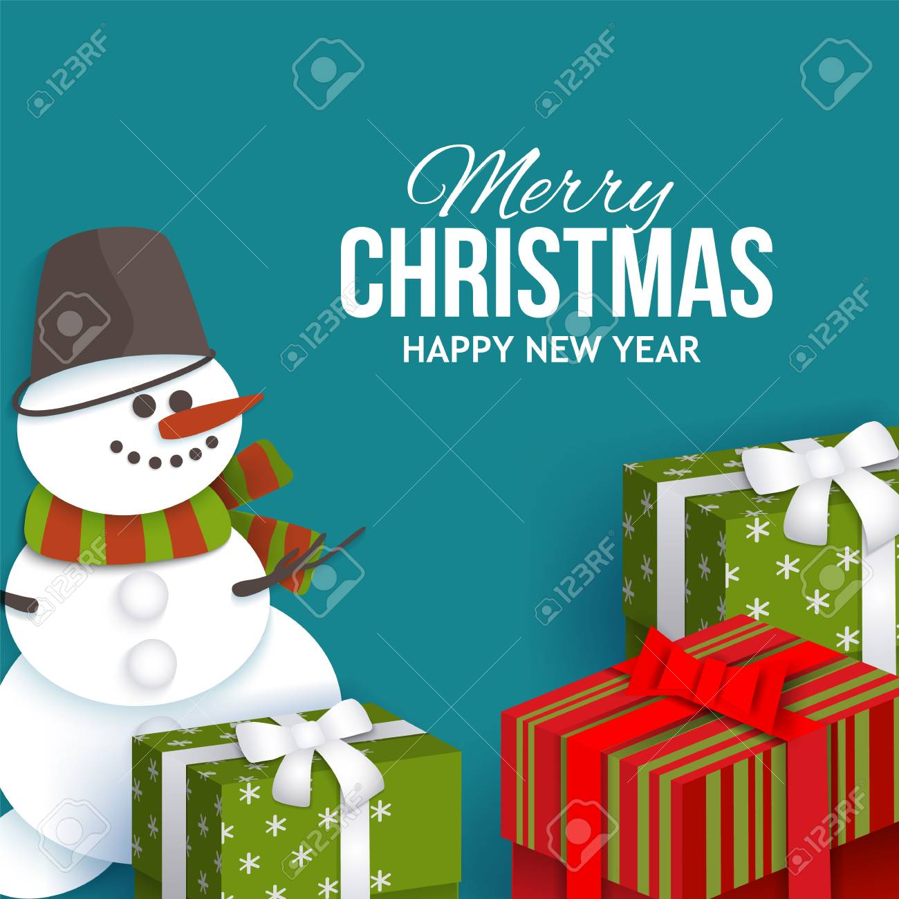 Merry christmas greeting card template with paper cut snowman merry christmas greeting card template with paper cut snowman and present boxes vector illustration m4hsunfo